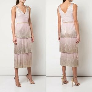 Marchesa Notte   Pink Gold Tiered Midi Gown Dress